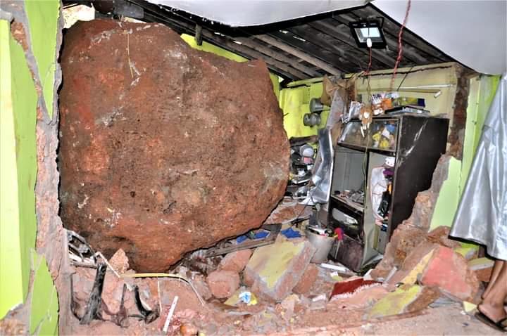 Woman killed, son escapes as boulder lands on Vasco house