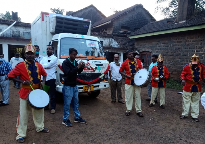 Brass band greets arrival   of Covid vaccine in Belagavi