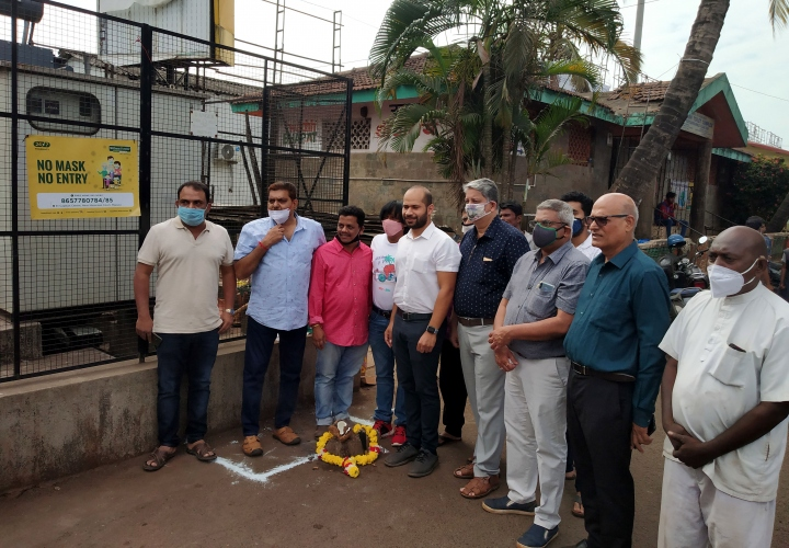 Mapusa MLA ducks poll code, lays stone for Rs 1 cr project
