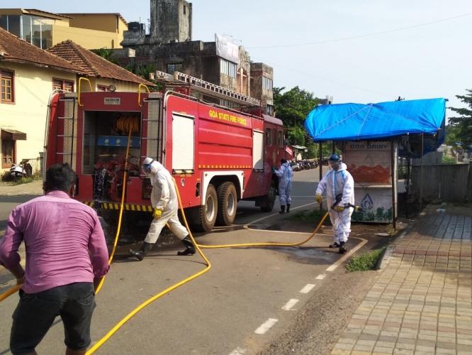Fire services sanitise   Curchorem market area