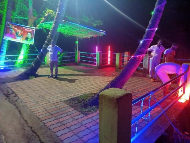 Social worker helps light   up Velsao lake for visarjan