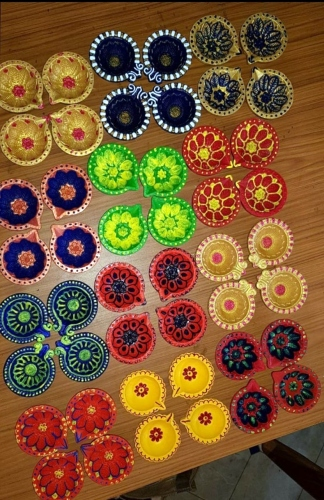 Special children ready   with special Diyas